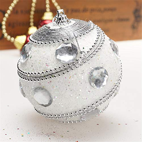 Christmas Ball Ornaments Decoration Christmas Rhinestone Glitter Baubles Balls Xmas Tree Ornament Decoration Holiday Wedding Party Decoration (8cm in Diameter) (White) by TLT Retail (Image #2)