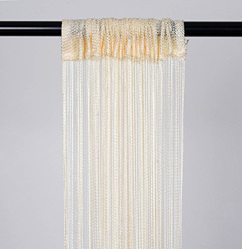 BalsaCircle 4 feet x 12 feet Ivory Silk Tassels Fringe Drapes Curtains - Wedding Ceremony Party Photo Booth Home Windows