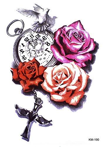 Reloj Tattoo rosas y pulsera brazo tatuaje pegatinas km190: Amazon ...