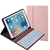Cywulin Wireless Detachable Bluetooth 3.0 Keyboard, Foldable Ultra Slim Rechargeable Keyboard for iPad 9.7 2017/2018 Pro Air 2/1 (With backlit, rose gold)