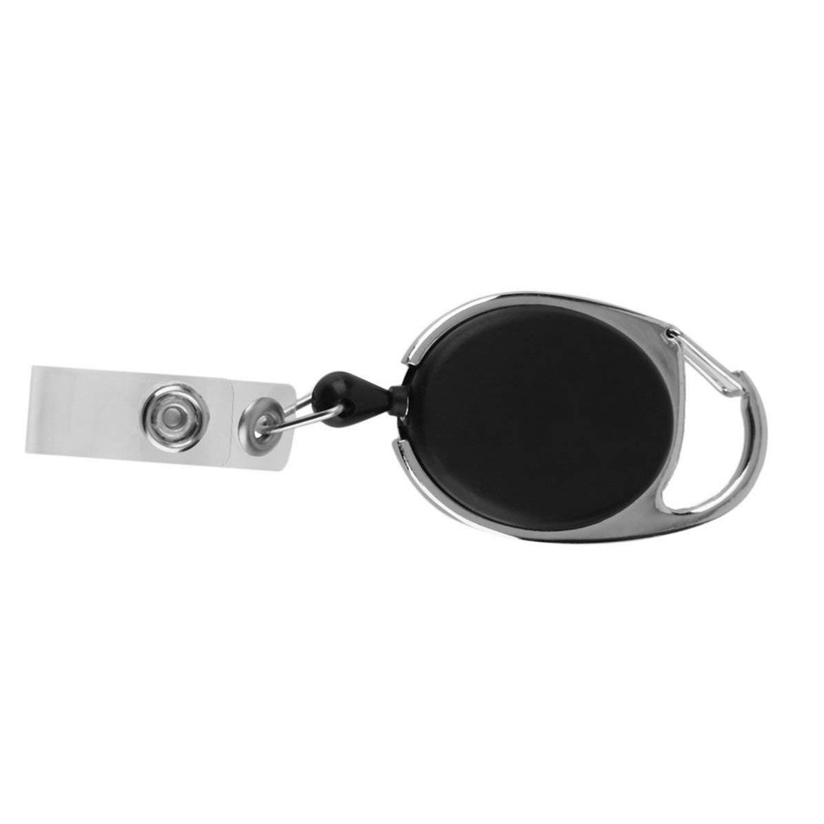 La carte r/étractable noire de badge de carte didentit/é d/étiquette d/étiquette de ceinture dattache de ceinture attache la cha/îne loge les enveloppes en plastique de style de mousqueton noir,