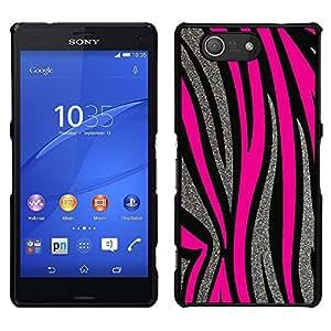 Stuss Case / Funda Carcasa protectora - Patrón Plata Líneas rosadas del animal de piel; - Sony Xperia Z3 Compact
