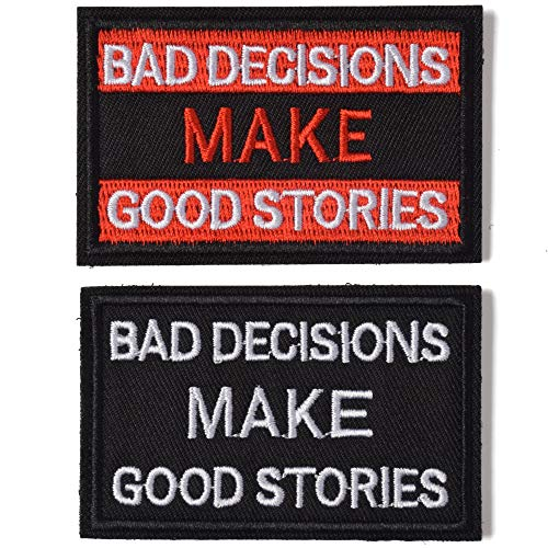AXEN Bad Decisions Make Good Stories Patch, 2 Pack, Embroidered Morale Patches Tactical Funny for Hat Backpack Jackets (Applique Fastener Hook - Loop), Red & Black Color