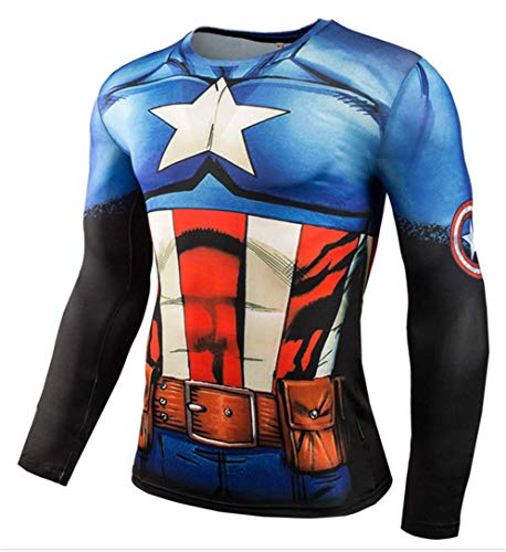 HIMIC E77C Hot Movie Super Hero Quick-Drying ElasticT-Shirt Costume (Small,Captain 2)]()
