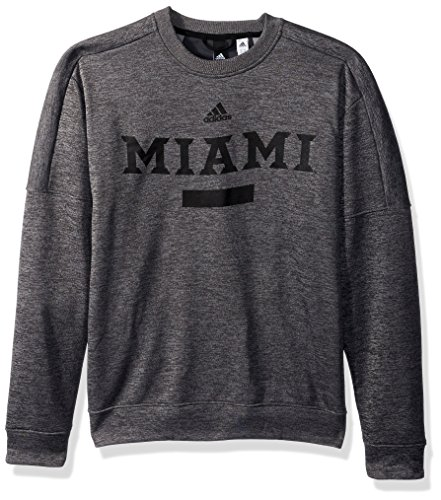 adidas NCAA Miami of Ohio Red Hens Men's Sideline Chiseled Team Issue Fleece Crew Sweat Shirt, Small, Dark Gray