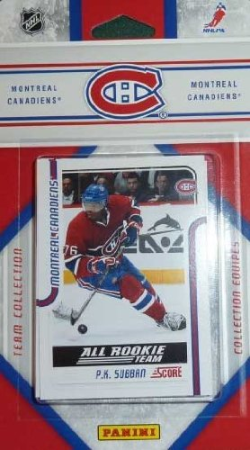 2011 / 2012 Score Montreal Canadiens Factory Sealed Team Set. Players Included Are Carey Price, Scott Gomez, Michael Cammalleri, Brian Gionta, P.K. Subban, Tomas Plekanec, Brendon Nash, Aaron Palushaj, Travis Moen, Lars Eller, David Desharnais, Andrei Kostitsyn, Max Pacioretty, Andrei Markov, Jaroslav Spacek, Hal Gill and Peter Budaj.