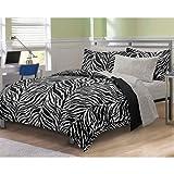 Zebra Print Queen Bedding Set 7pc Black White Bed