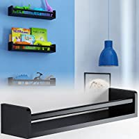Brightmaison Childrens Wall Shelf Wood Black 17.5 Inch Multi-use Bookcase Toy Game Storage Display Organizer Ships Fully Assembled (Black)