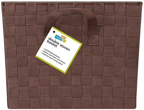 Large Woven Strap Tote-Brown