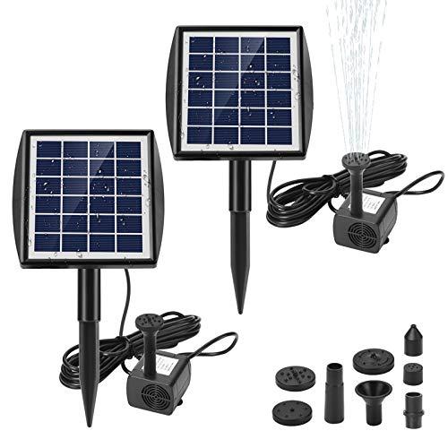 Ankway Solar Water Pump for Fountains with Panel 2.0W Upgrade Solar Pump Kit for Pond Bird Bath Pool Koi Goldfish Patio Garden(2pcs)