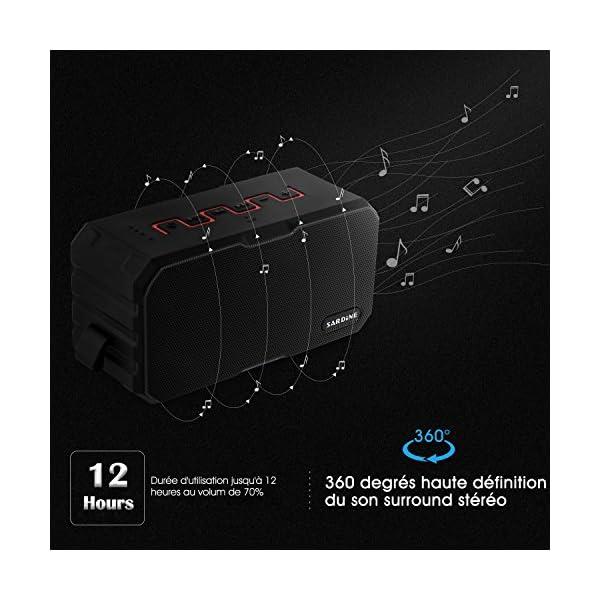 Enceinte Bluetooth Haut Parleur Bluetooth Waterproof Sans Fil Portable - Deepow 10W Enceinte Bluetooth Speaker Puissante étanche IP67 3000mAh Compatible Android iPhone TV et Autres Appareils Bluetooth 3