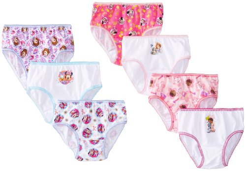 Handcraft Little Girls'  Disney Jr Multi 7 Pack Panty, Assorted, 6
