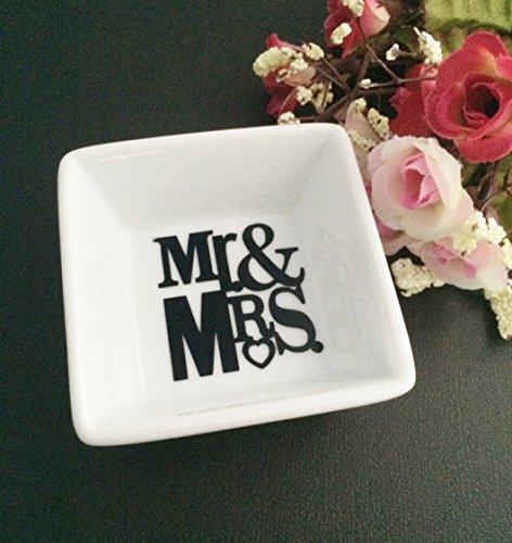 Mr & Mrs Mini White Porcelain Couples Trinket Dish (Wedding Rings Porcelain)