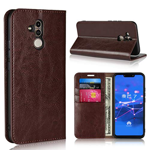 Huawei Mate 20 Lite Wallet Case,Jaorty Premium Leather Folio Flip Full Body Case Cover Book Design with Kickstand Feature with Card Slots/Cash Compartment for Huawei Mate 20 Lite - Dark ()