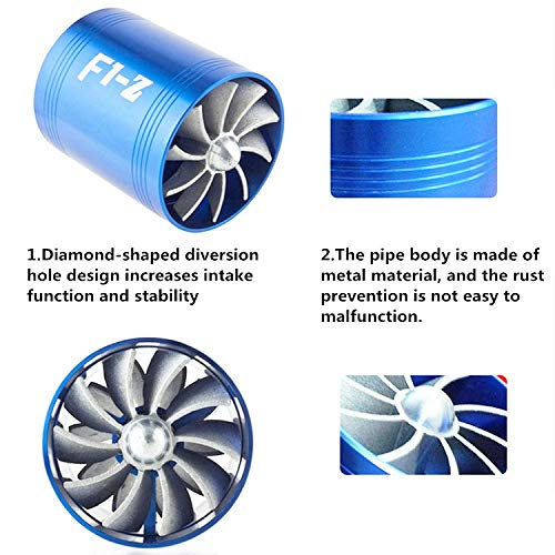 Ventilador de doble turbina para coche, filtro de aire de admisión de gas, ahorro de combustible, ajuste universal, Turbine Turbocompresor con 3 soportes de ...