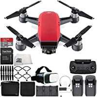 DJI Spark Portable Mini Drone Quadcopter Fly More Combo Virtual Reality Experience VR Bundle (Lava Red)