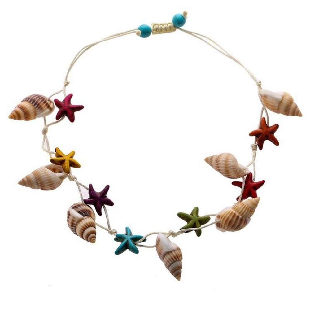 Pinksee Conch Turquoise Starfish Ankle Chain Beach Anklet Adjustable Weaving Bracelet