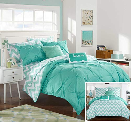 Chic Home 7 Piece Louisville Pinch Chevron Print Reversible Bed in a Bag Comforter Set Sheets, Twin X-Large, Aqua (Sets Bed Chevron)
