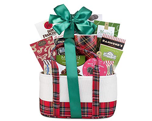 Coffee, Tea & Cocoa Holiday Gift Tote Gourmet Popular Snacks Selection and Treats