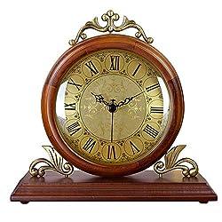 XHRHao Mantel Clock Wood Roman Numeral Dial Fireplace Clock Retro Desk Clock Mute Desktop Battery Powered, Decor Gift Household (Color : Brown)