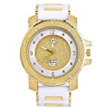 Men's Hip Hop Iced Out 14K Gold Plated Silicone Band Techno Pave Watch 7758 GGWH