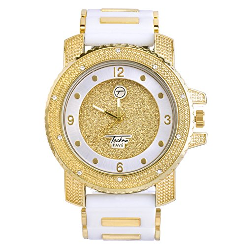 Men's Fashion Hip Hop Analog Iced Out Heavy White Silicone Band Watch WR 7758 (Gold Toned) from METALTREE98