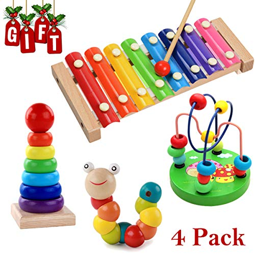 - Wooden Educational Toys,Musical Instruments Set Include Xylophone,Rainbow Ring Stacker,Caterpillar and Bead Maze Toy,Promotes Early Development and Educational Learning(4 PCS) (wooden educational toy)