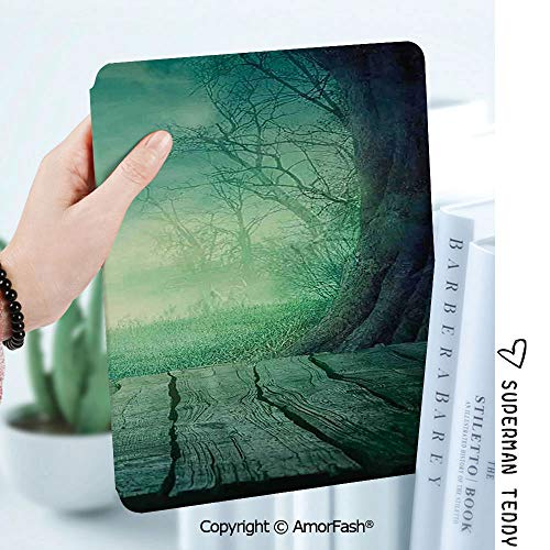 Case for Samsung Galaxy Tab A 8.0 2017 Release for T380/T385,Auto Wake/Sleep,Gothic Spooky Scary Dark Fog Forest with Dead Trees and Wooden Table Halloween Horror Theme Print]()