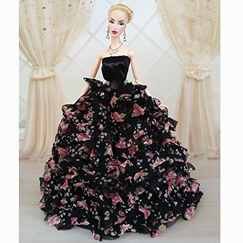 {Factory Direct Sale} Black Handmade Fashion Wedding Gown Dresses Clothes Outfit Girl Party For Princess Barbie Doll