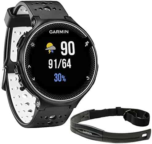 Garmin Forerunner 230 GPS Running Watch Black and White (010-03717-40) with Heart Rate Monitor
