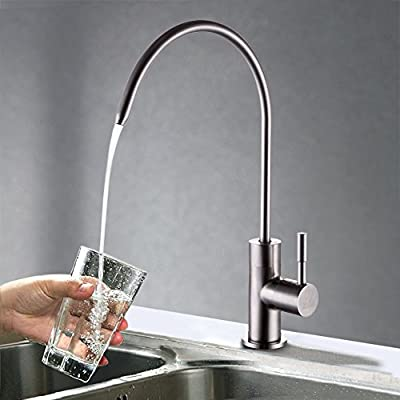 KES Z501 Lead Free Beverage Faucet Drinking Water Filtration System 1/4-Inch Tube, Brushed Stainless Steel