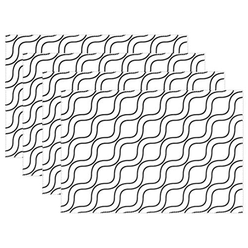 (Wave Wavy Line Stripe Pattern Seamless Placemats Set Of 4 Heat Insulation Stain Resistant For Dining Table Durable Non-slip Kitchen Table Place Mats)