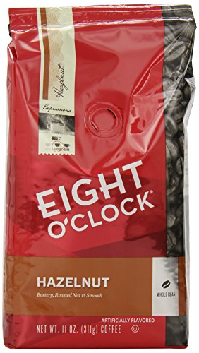 Eight O'Clock Whole Bean Coffee, Hazelnut, 11 Ounce (Pack of 6)