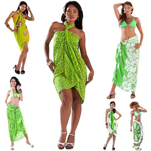 1 World diseño de flores de pareos y cierres de colores variados para mujer cover-up de horóscopo con colgante en forma de sin olla de devoluciones de Verde