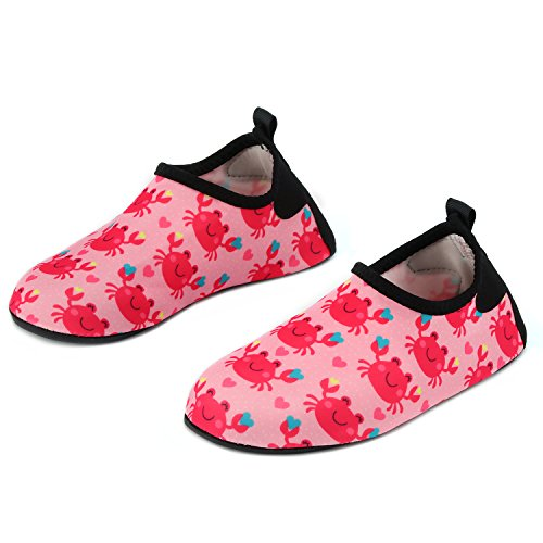 Yidomto Kids Water Shoes, Quick Dry Barefoot Socks for Toddler Boys & Girls on Beach Swim Pool(Pink Crab-30/31)