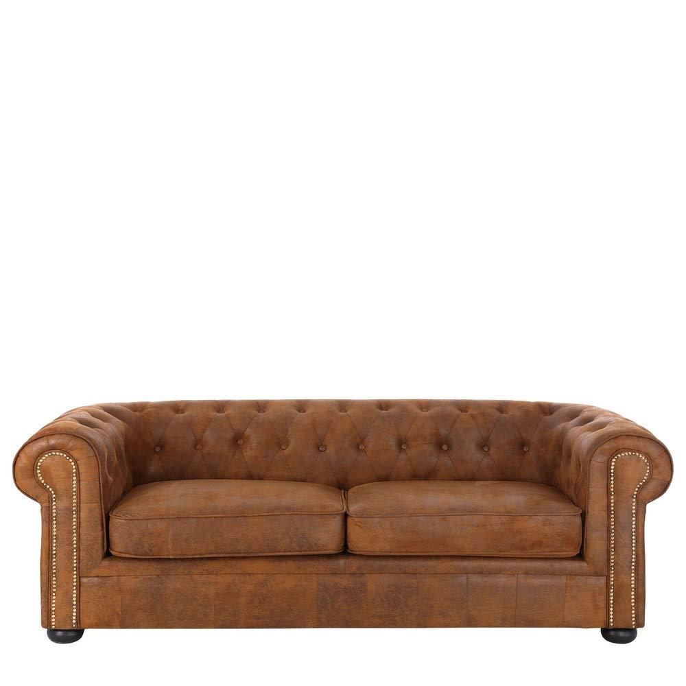 Sofá Chester de 3 plazas clásico marrón de poliéster para salón Bretaña - LOLAhome