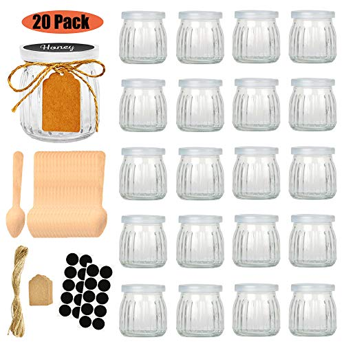 Folinstall 20 Pcs 7 oz Strip Glass Jars with Lids - Yogurt jars - Mason jars for Jam, Honey, Spices. Extra Chalkboard Labels, Tag Strings and 20 Disposable Wooden Spoons Included