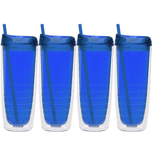 Culver Cool Cup Double Walled Insulated Tall Tumbler with Lid and Straw, 20-Ounce, Blue, Set of 4