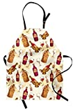 Lunarable Winery Apron, Vintage Pattern with Glass Bottle Corkscrew Country Restaurant Table, Unisex Kitchen Bib Apron with Adjustable Neck for Cooking Baking Gardening, Fuchsia Ruby Pale Brown Review