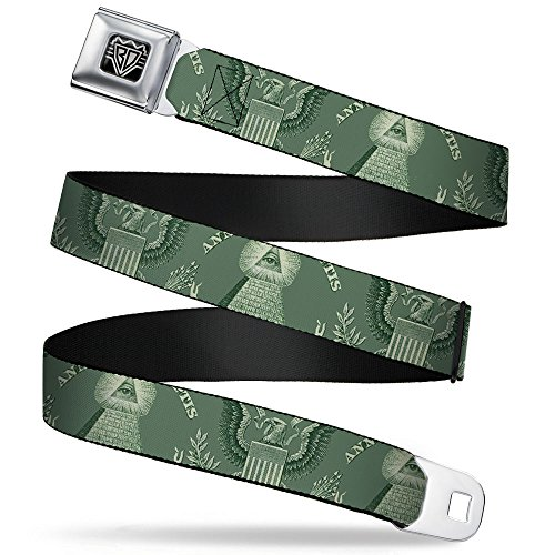Buckle-Down Seatbelt Belt - One Dollar Bill Pyramid/Bald Eagle - 1.0