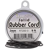 Beadsmith Black Solid Rubber Cord For Jewelry & Crafts 2mm / 9ft Spool