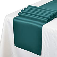 """Remedios 10pcs 12""""x108"""" Satin Table Runner for Wedding Party Venue Decoration,Teal Blue"""