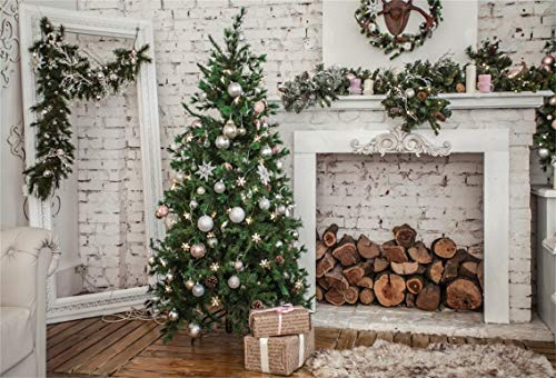 - Leyiyi 10x8ft Merry Christmas Room Backdrop Xmas Tree Pine Branch Wreath Rustic Fireplace Brick Wall Wood Piles Sofa Carpet Photography Background Happy New Year Photo Studio Prop Vinyl Wallpaper