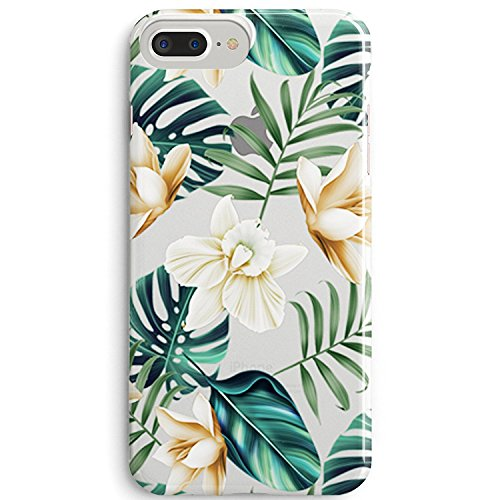 Leaf Phone Cover - Tropical Floral Leaves Southeast Asia Summer Aloha Love Flowers Bloom Pattern Clear Soft Rubber Anti Scratch Protective Case for iPhone 6 Plus / iPhone 6S Plus (5.5