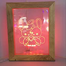 Wood photo frame 3D stereo vision creative gift 3D picture lighting as the light wood night light LED night light , 2