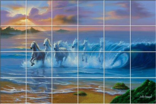 Wild Waves UV Ceramic Tile Mural 25.875