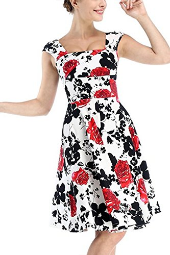 Babyonline Vestido De Fiesta para Mujer, estilo Años 50 Rosso
