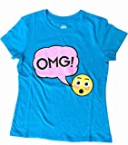 Generic Teal OMG Emoji Girls Fashion Sparkle T-Shirt (large 10-12)