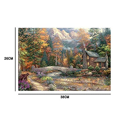 Jigsaw Puzzles 1000 Pcs, Home Under The Mountain Landscape Puzzles 1000 Pieces, Home Decor Art, Adult Kids Toy: Toys & Games