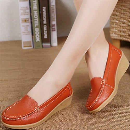 Zapatos De Plataforma Holgazana De Mujer, Cuñas De Cuero De Tacón Medio Bombas De Trabajo Informal 5 Colores Talla 5-8 Naranja